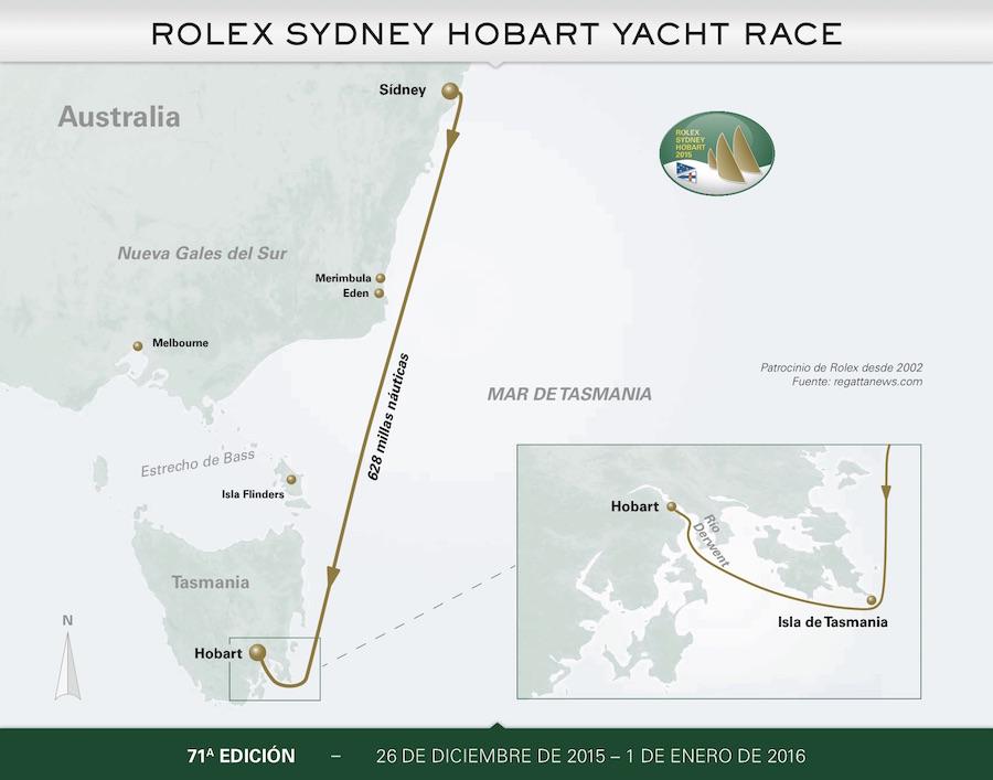 Rolex Sydney Hobart 2015 mapa