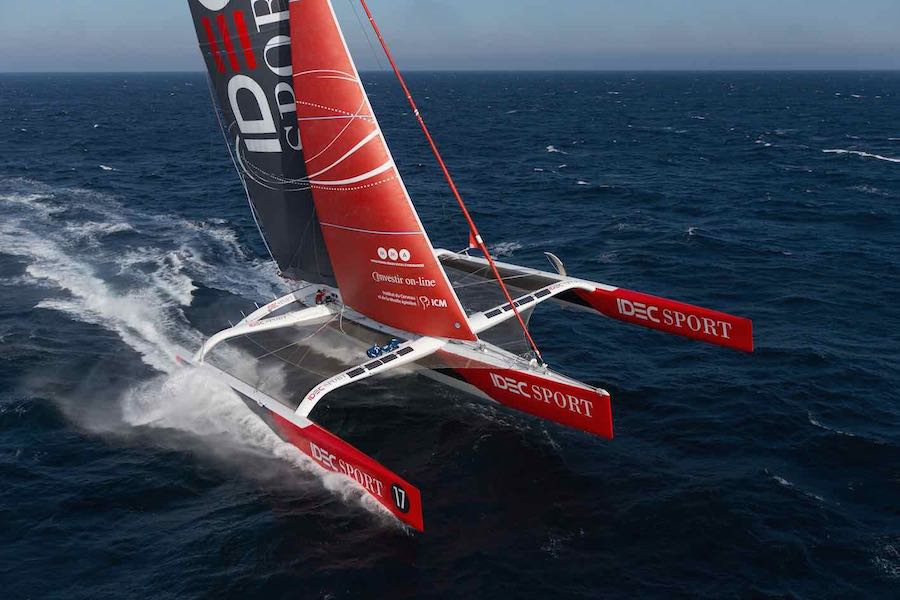 First aerial images of IDEC SPORT maxi trimaran, skipper Francis Joyon and his crew, training off Belle-Ile, Brittany, on october 19, 2015 - Photo Jean Marie Liot / DPPI / IDEC