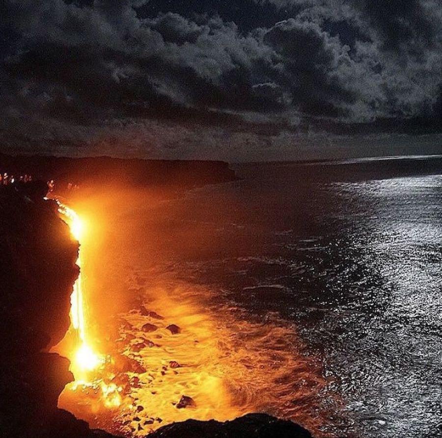 Ltimas im genes del volcan kilauea en erupci n sobre el mar for El inodoro que te lava