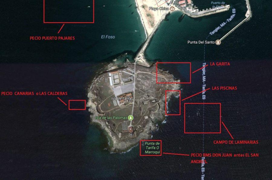mapa para buceo en tarifa